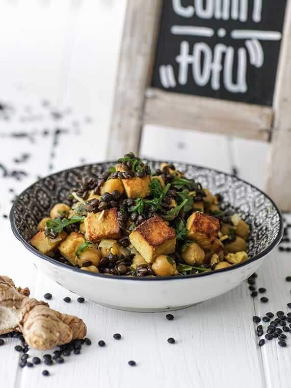 Linsencurry mit Tofu - vegetarisches Rezept