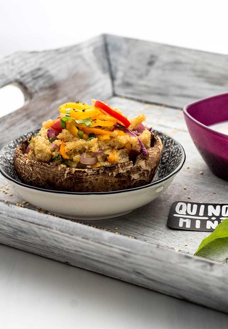 Quinoa gefüllter Pilz