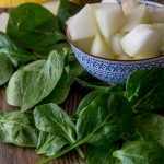 Spinat und Honigmelone
