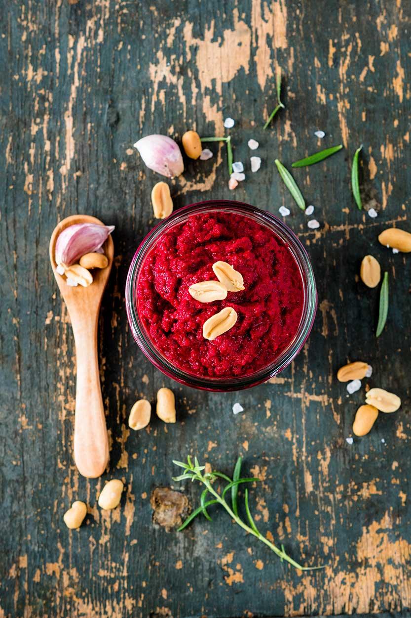 Rote Beete Erdnuss Pesto Rezept