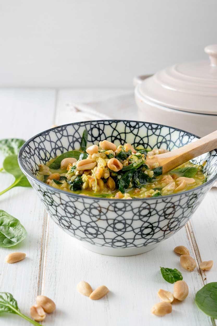 Spinat Buchweizen Curry zubereiten