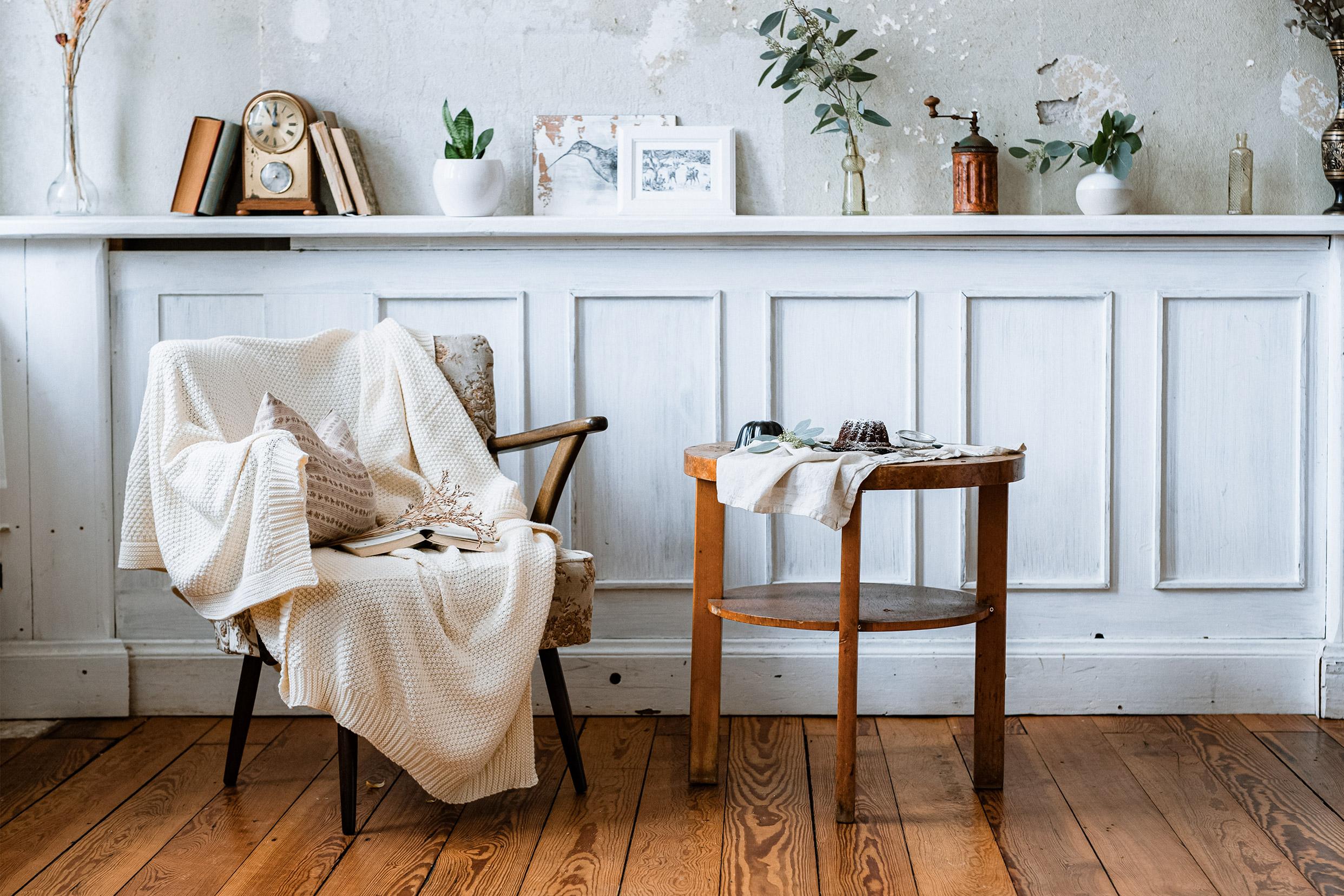 Gemütliche Einrichtung im Wohnzimmer im Vintage Look